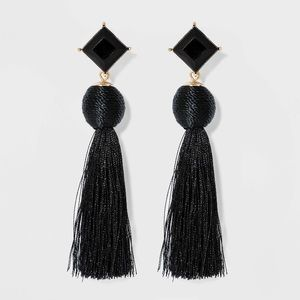 Sugarfix by Baublebar black stud tassel earrings
